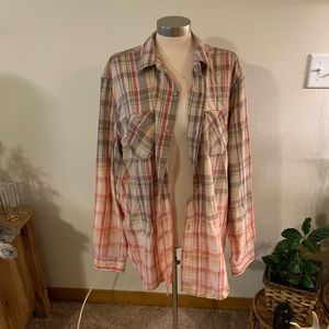 bling a gogo Tops - NWT dip dyed flannel with road trip patch